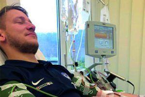 Tobias Teubner während der Stammzellspende